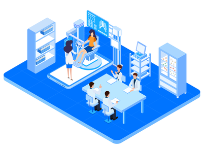 Isometric Medical Center finance charackter analytics data infograpich graph business data analytics isometric illustration