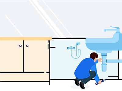Plumber Service plumbing character professional kitchen service man service man handy man worker creative design vector service plumber illustration