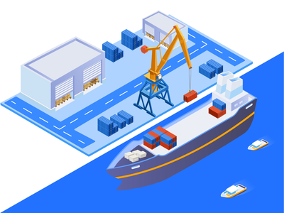 Isometric | Shipping Service technology unloading logistic sea industry shipping services shipping management shipping container services transportation exporting nautical transport port character cargo shipping vector isometric illustration