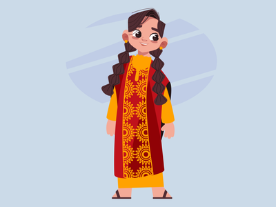 saudi girl characterdesigns motiongraphics happy expressions character vector design abstract 2d illustration flat