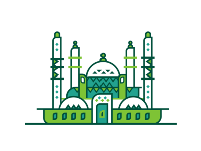 mosque design dribbble mosque identity element icon corporate branding flat 2d illustration art islamic pattern