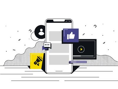 mobile app vector dots shades character art messages like socialmedia icons mobiledesign blackandwhite ui design abstract 2d flat illustration