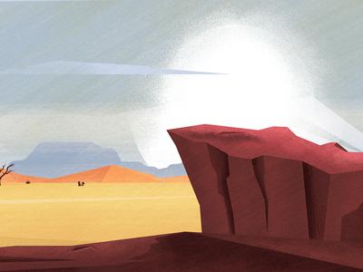landscape texture plants tree rock desert season design 2d abstract flat illustration