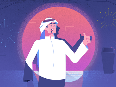 spot light focus shadows art celebration trash man saudi happy character expressions excited vector design abstract 2d illustration flat