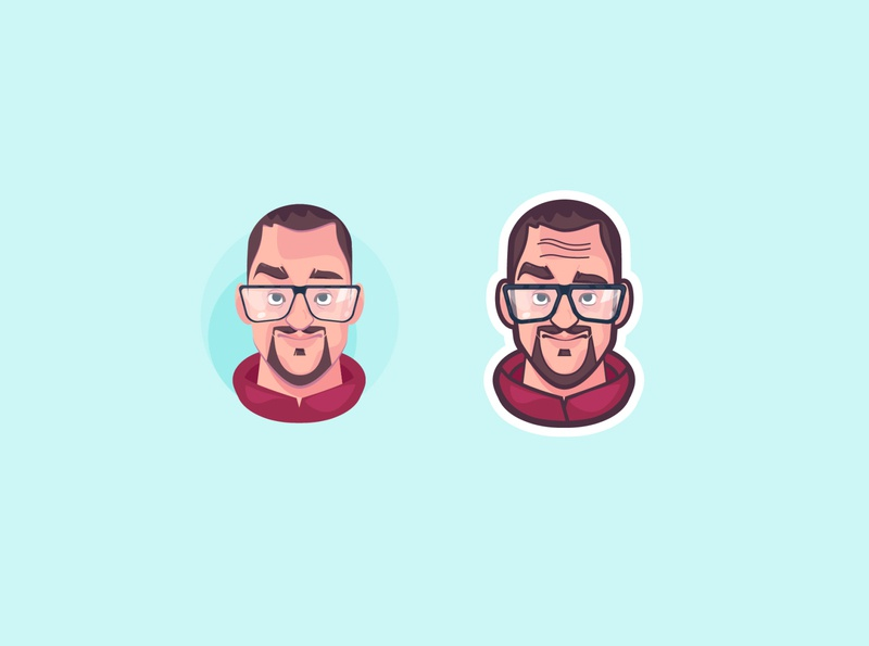 avatar happy glasses expressions character vector design abstract 2d illustration flat