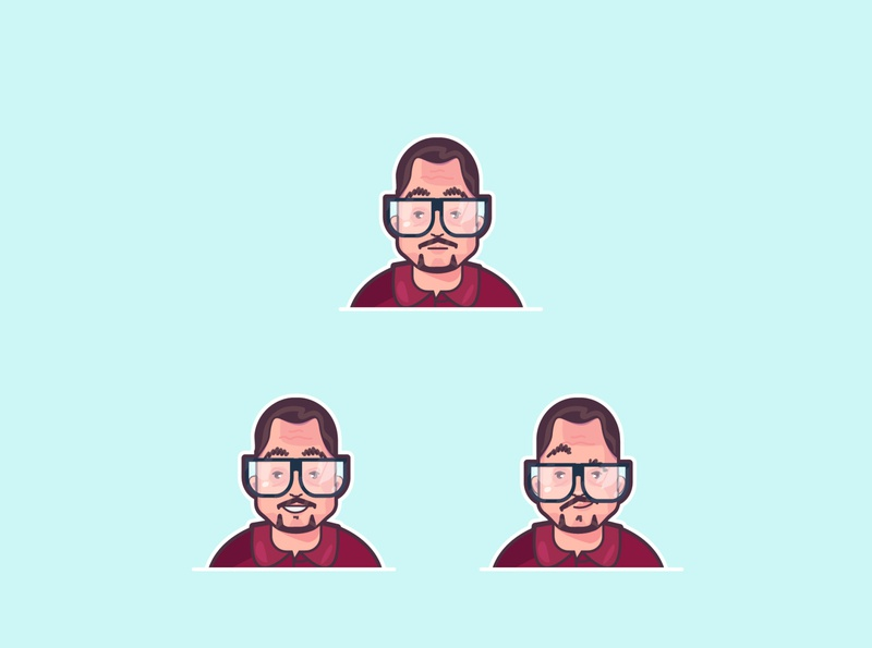character avatar excited glasses expressions character vector design abstract 2d illustration flat