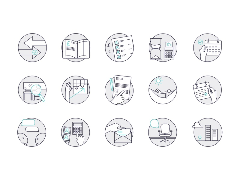 Icon set for online accountants - Quant vector iconography icon illustration limely