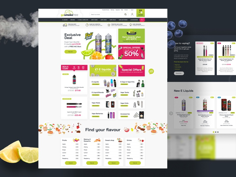 Vape website ecommerce magento illustration fruit vape smoke website design limely