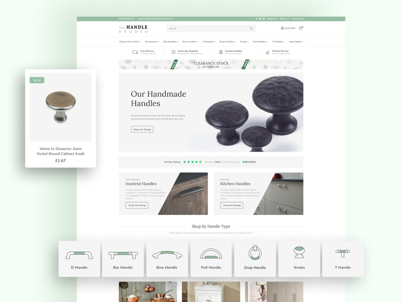eCommerce site - The Handle Studio grey green pastel magento 2 magento ecommerce website branding design limely