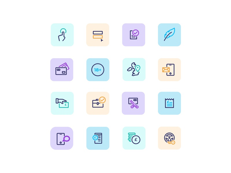 Pastel icon set for the finance industry ui icons pastels pastel icon illustration design limely