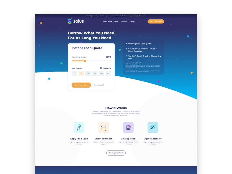 Colouful Loan Site web design dribbble website vector icon branding illustration design limely