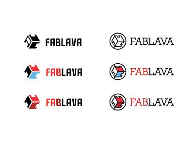 Logo Fablava logo bratislava fablab fablava logo design red blue technology craft