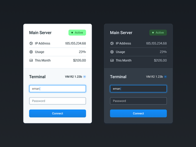 Server Management Card graphic design figma theme ui ux user experience user interface