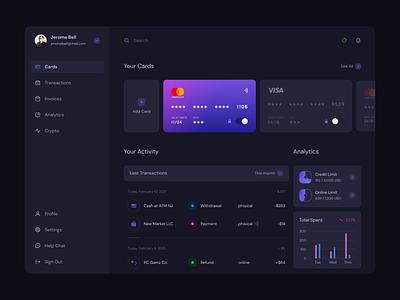 Finetech Dashboard graphic design figma dashboard dark theme ux ui user interface user experience