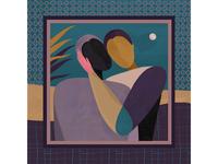 Spark - Personal Illustration hug art deco night moon illustrators woman character acrylic shot handmade illustrator illustration