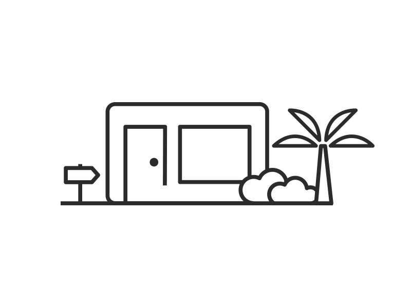 Studio illustration icon palm line illustration studio design