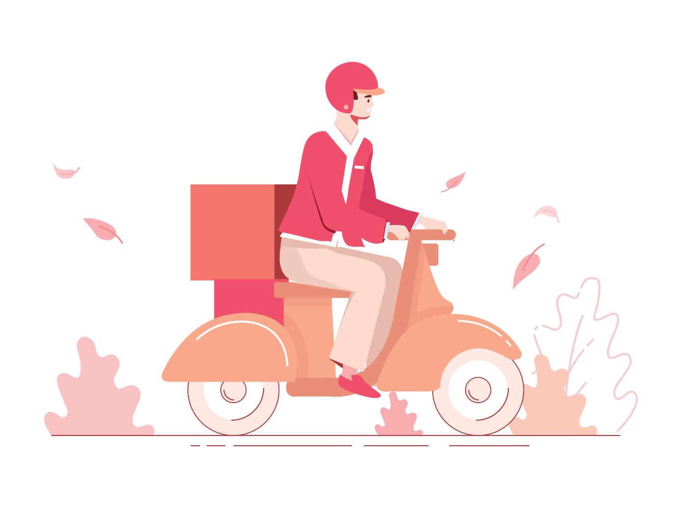 Delivery illustration scooters scooter helmet red motorcyle motor design shot illustration