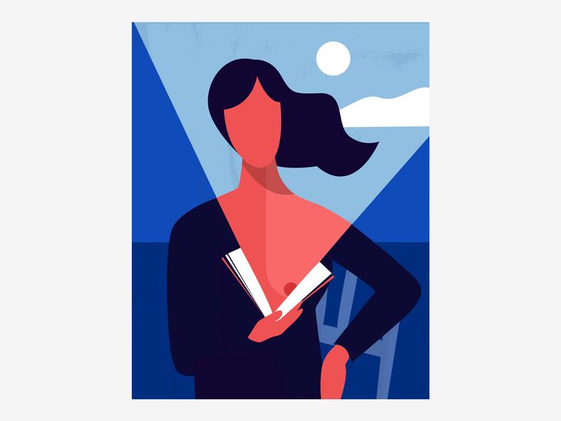 Reading book reading sea drawing posca character moon woman vector design handmade illustrator illustration