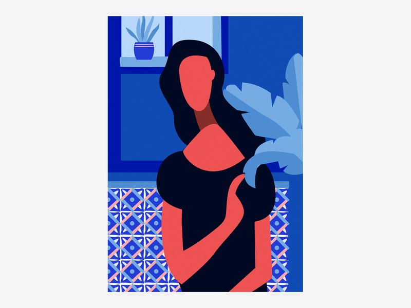 Plant Lover vase posca illustrated ceramic woman character room blue flower plant vector handmade shot illustrator illustration
