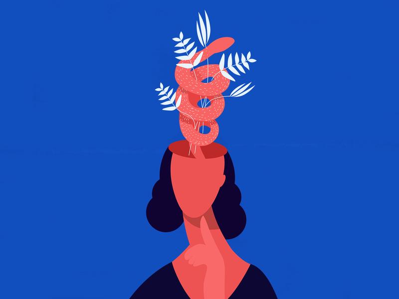 In my mind woman blue head mind flower snake design handmade shot illustrator illustration