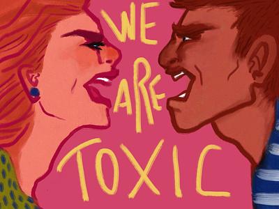 Toxic relashipnship visual content editorial art charactedesign storytelling digital artist man woman fashion illustrator art anger colourful lifestyle editorial illustraion couples relationship