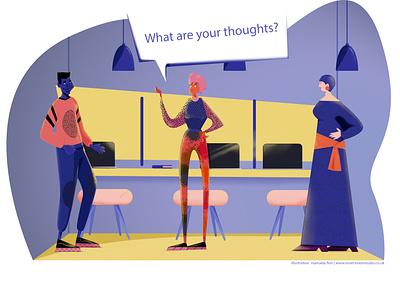 What are your thoughts? design art adobe illustrator charactedesign artwork illustration art storytelling editorial art visual content digital artist illustration