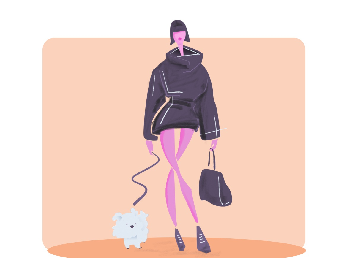 Girl With Dog design art editorial art visual content illustrator girl character woman girl digital artist illustration