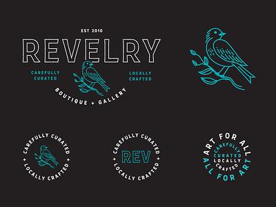 Revelry Boutique + Gallery design vector branding revelry kentucky case study louisville lockups brand identity local art gallery art bird illustration logo badge badge design