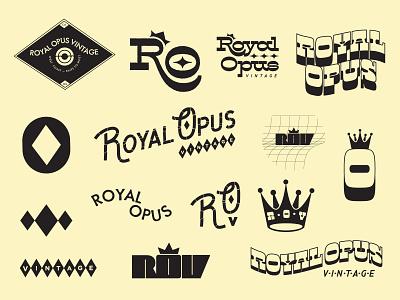 Royal Opus Vintage typography illustration lettering vector kentucky louisville brand design diamond r o collage badge design logo vintage brand identity crown royal branding