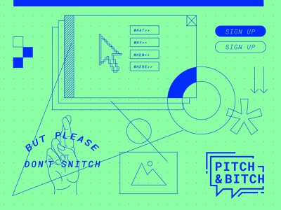 Pitch & Bitch Moodboard hands grid button arrow ui logo design geometric illustration branding moodboard