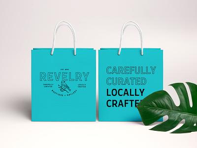 Revelry Shopping Bags typography kentucky louisville branding design bag mockup bag shopping bag badge bird revelry