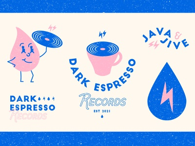 Dark Espresso Records - Flash Challenge brand identity logodesign jive java cartoon drip lighting bolt music record coffee vintage branding logo