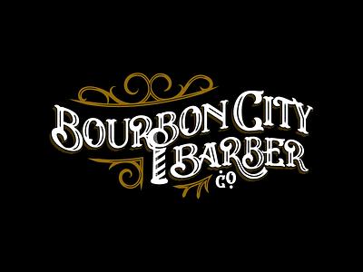 Bourbon City Barber Co brand identity logodesign barber logo branding pole baber pole workmark vintage lettering typography bourbon city barber kentucky louisville bourbon