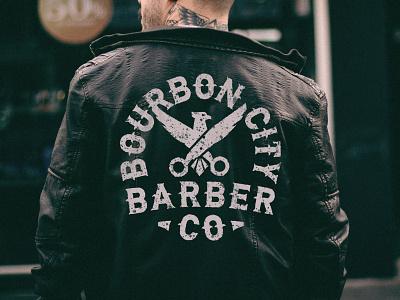 Bourbon City Barber Badge design kentucky badge vector eagle bird barber shop barber logo louisville branding illustration