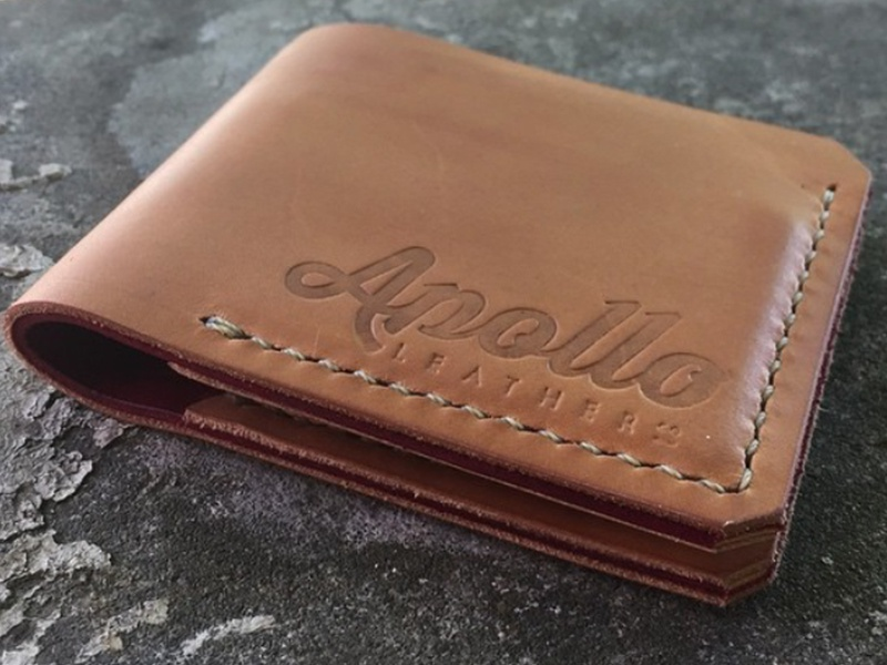 Apollo Leather Co - 2 lettering wallet emboss branding logo leather