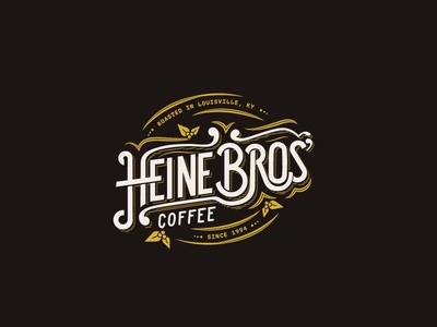 Heine Bros' throwback badge shield leaves heine brothers mural coffee lettering