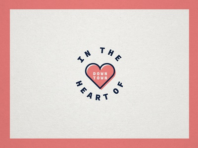 Heart of Downtown pink stamp badge downtown heart