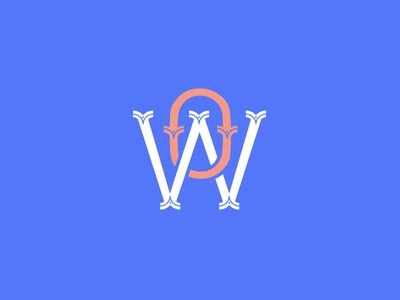 WO monogram blue orange wow o w monogram