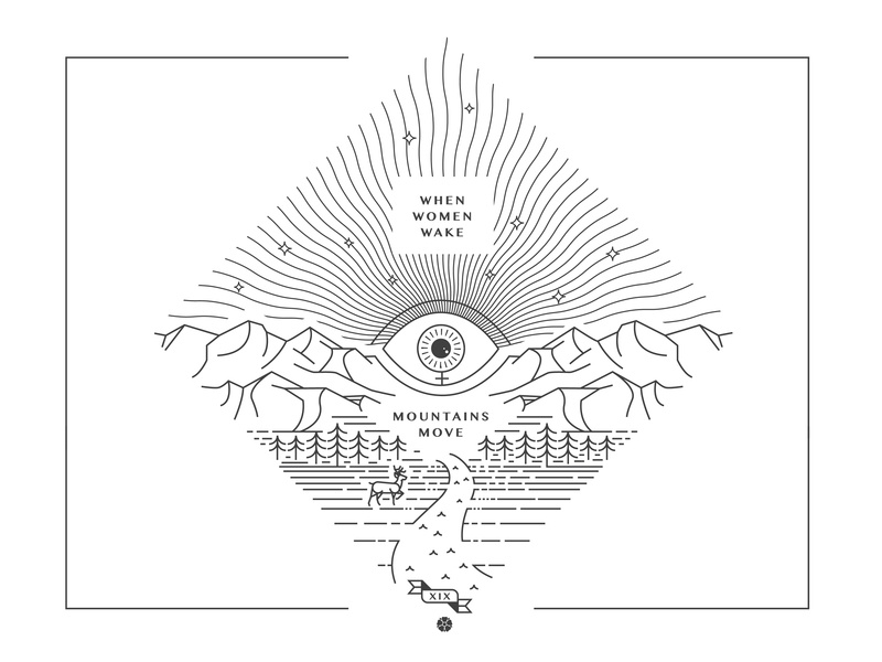 Women Wake womens suffrage line design women in illustration female eye illustration stars deer trees mountains equality women