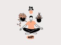 Namaste here w/ my plants mind peace ohhm pothos snake plant plants meditation meditate yoga illustration