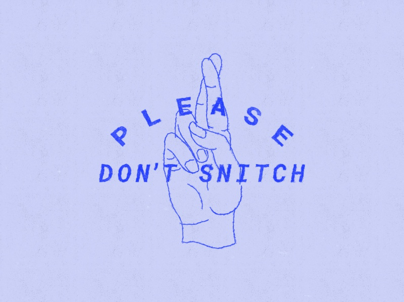 Don't Snitch blueprint fingers crossed hands illustration