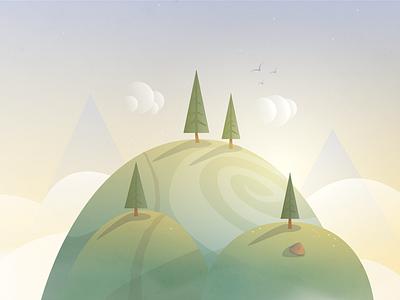 Hill  illustrator tree hill sunset pine spruce
