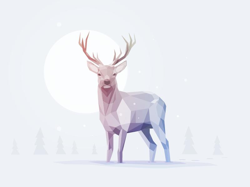 deer gray low poly - photo #8