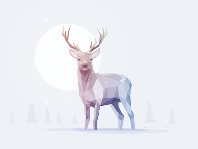 Deer Winter edition low poly deer animal winter illustrator