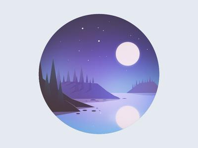 Another night night moon illustrator pine tree stars