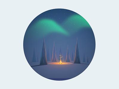 Norrsken aurora borealis night forest illustrator pine fire