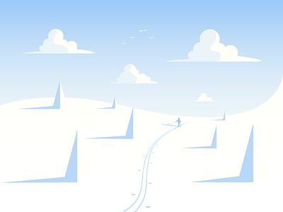 Snow day! skier snow landscape illustrator