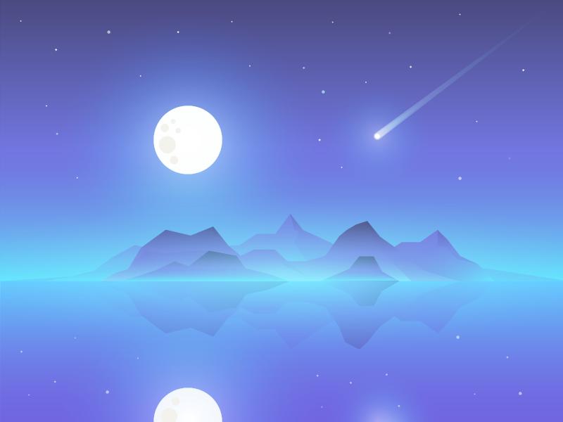 Comet night moon comet sea
