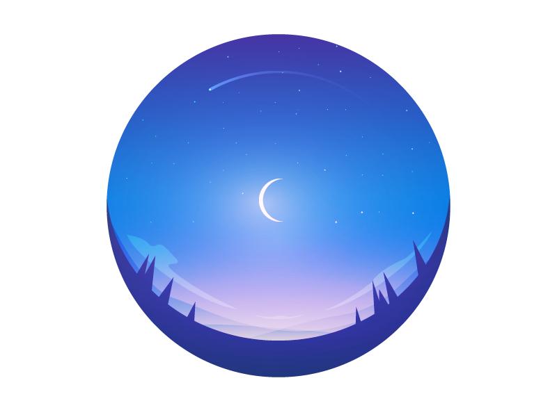 Clear skies night stars moon illustrator fisheye