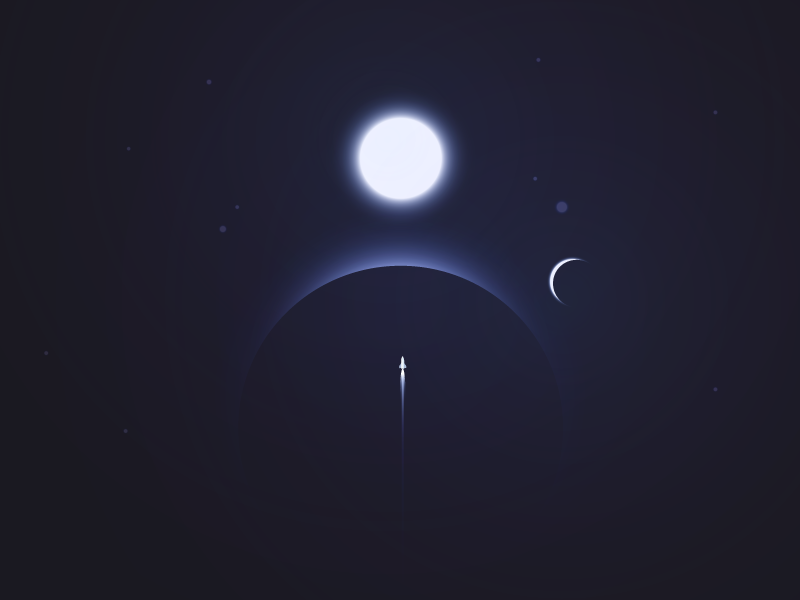 Space somewhere rocket star illustrator space